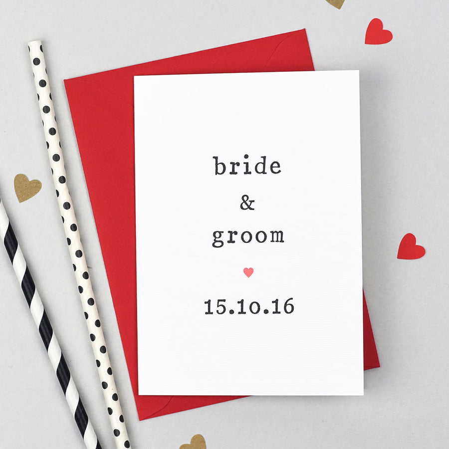 bride and groom wedding day card