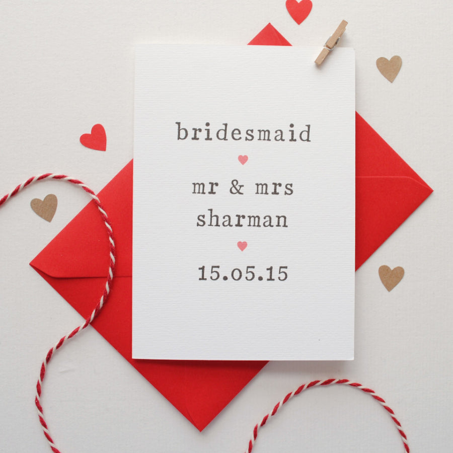 Personalised Bridesmaid Card Card - The Two Wagtails