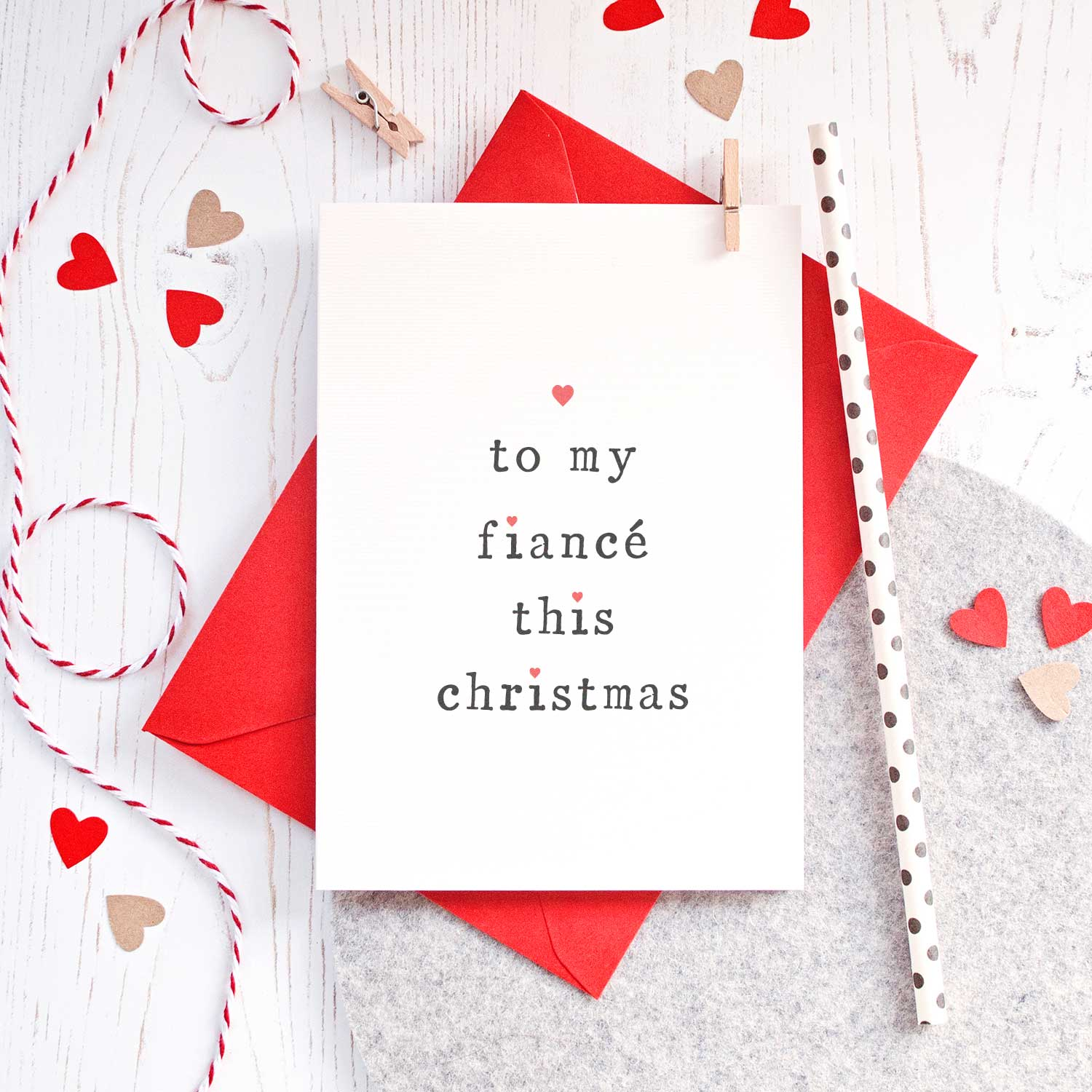 'To My' Fiance or Fiancee Christmas Card Card - The Two Wagtails