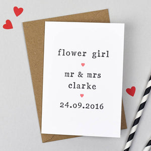 flower girl wedding card