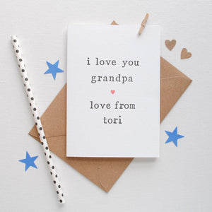 Personalised 'Love You' Father's Day or Birthday Card Card - The Two Wagtails