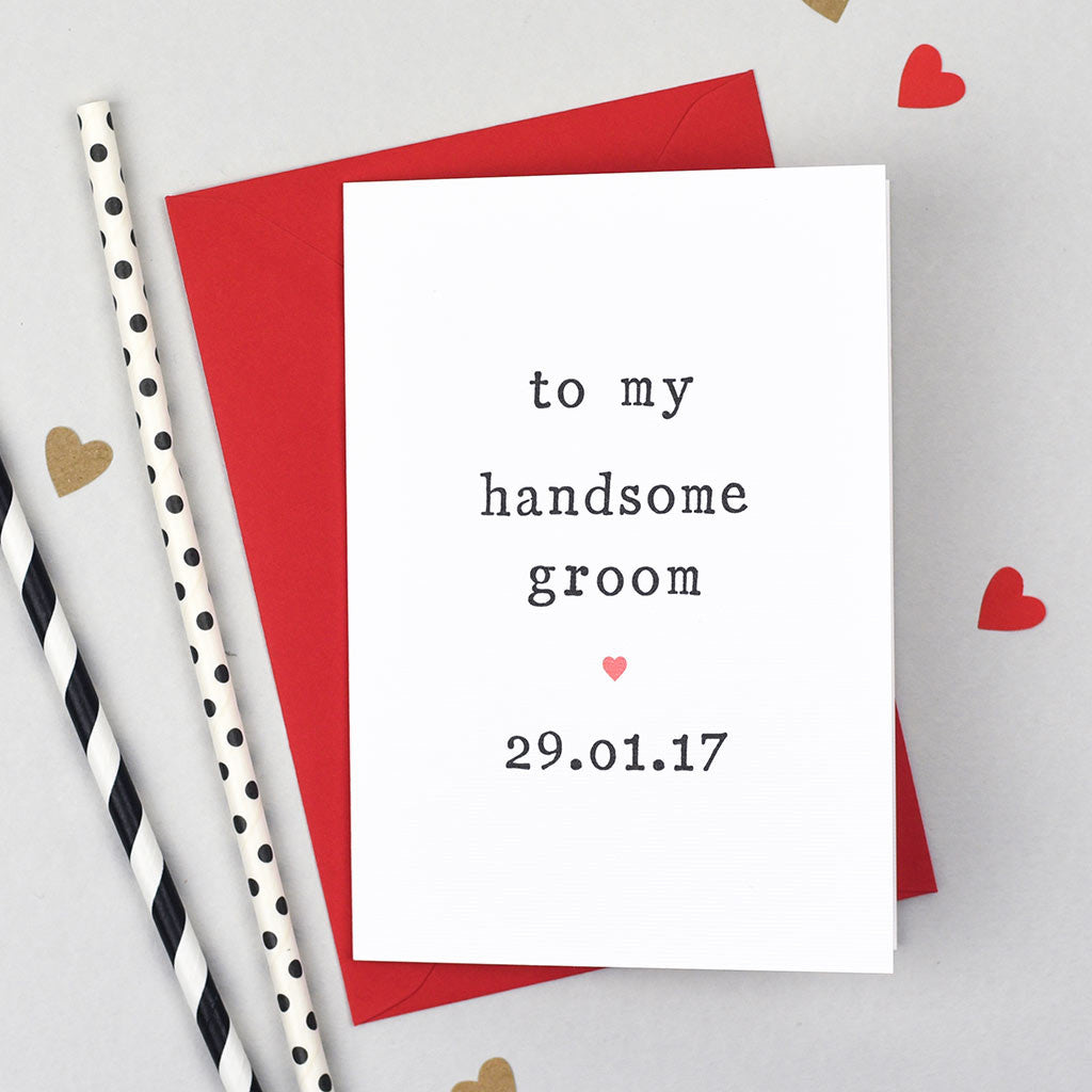 Bride or groom wedding card greeting cards the two wagtails handsome groom wedding card kristyandbryce Choice Image