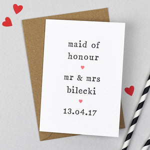 maid of honour wedding card