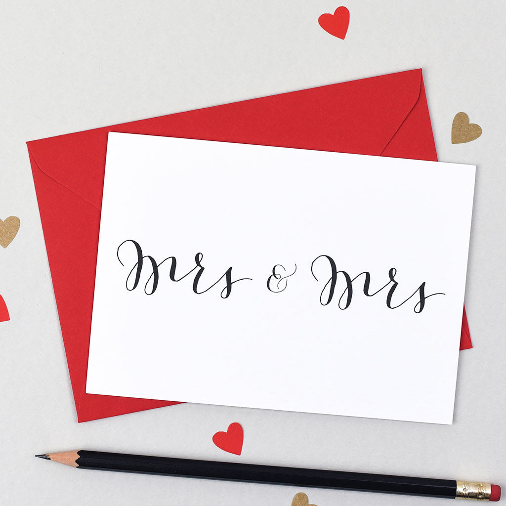 mrs and mrs calligraphy wedding card