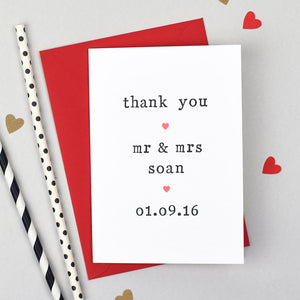 thank you wedding card