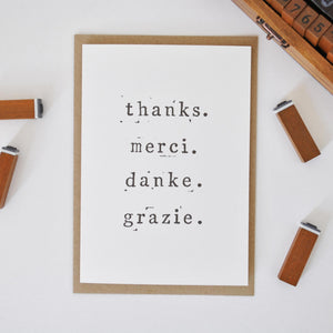'Thanks. Merci. Danke. Grazie.' Thank You Card Card - The Two Wagtails