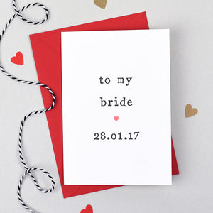 to my bride wedding card