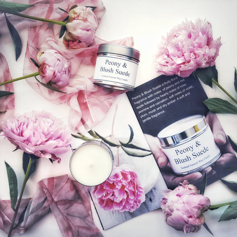 Scent of the Dales 'Peony and Blush Suede' soy wax tin container candle