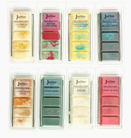 Mixed highly fragranced wax melt snap bars from JustNow designs