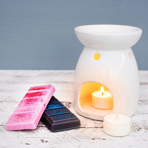 Highly scented wax melt snap bars with ceramic t-light melter from JustNow designs.