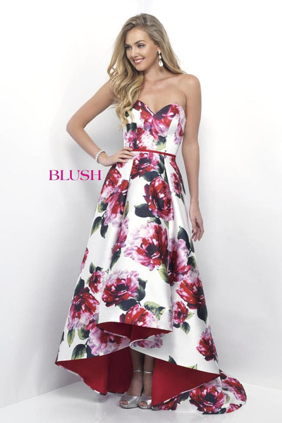 Blush 11286 Off White/Valentine/Multi Floral 2 piece prom dress, Size 18