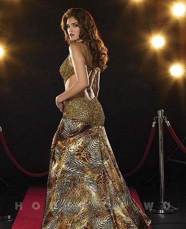 Panoply 14346 Gold print Size 2, cutout stomach, open strappy back, Sale $86