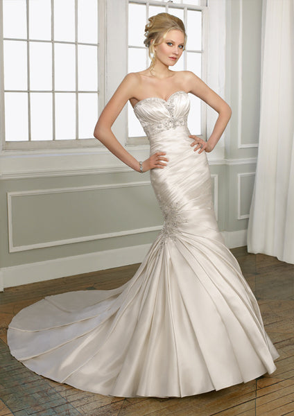 Mori Lee 1653 Strapless sweetheart neckline, mermaid, Candlelight Size 8, Sale $798