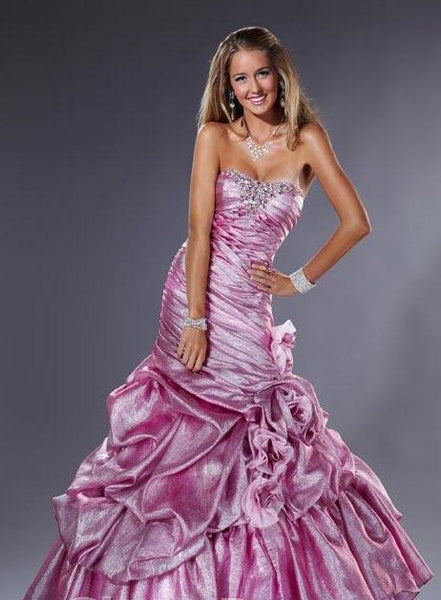 Tiffany 16616 Pink Prom Dress Size 6, layered ruffled skirt, sweetheart neckline, Sale $170