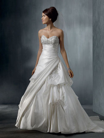 Alfred Angelo 2262 Diamond White wedding gown with pick ups, Size 10 Sale $639