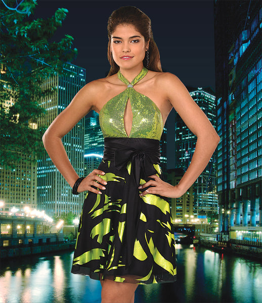Hannah S 27541 Size 4 Black/Green short homecoming dress, prom dress, sparkling bodice