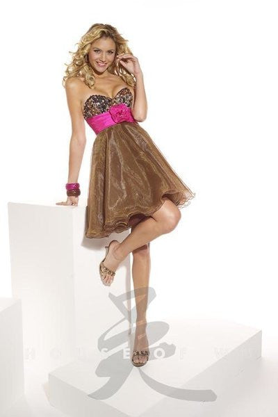 Hannah S 27605 Leopard/Fuchsia short prom or homecoming dress Size 16, Sale $90