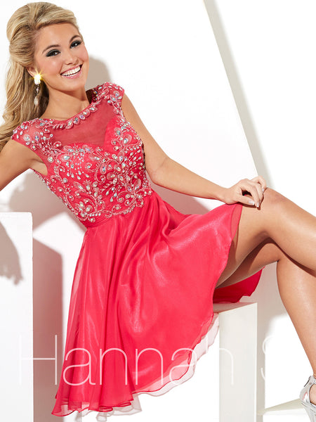 Hannah S 27781 Short prom or homecoming dress, illusion back, Cherry Size 14, Sale $171
