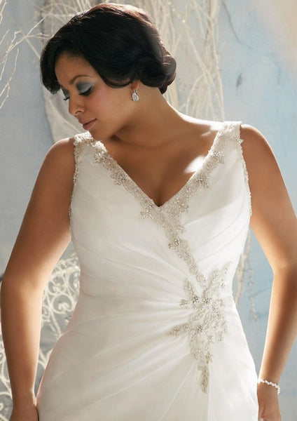 Mori Lee 3142 White A-line Wedding Gown, Size 32W, Sale $716