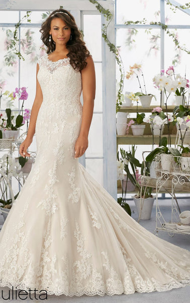 Mori Lee 3194 Ivory lace Wedding gown, size 22, Sale $899