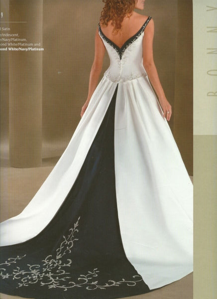 Bonny Bridal Gown 449, White with Navy Size 10 Sale $236