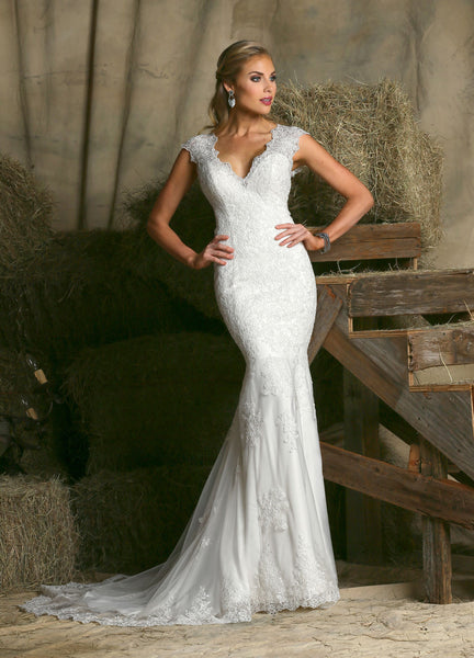 Davinci 50320 Lace wedding gown with illusion back, Ivory Size 12