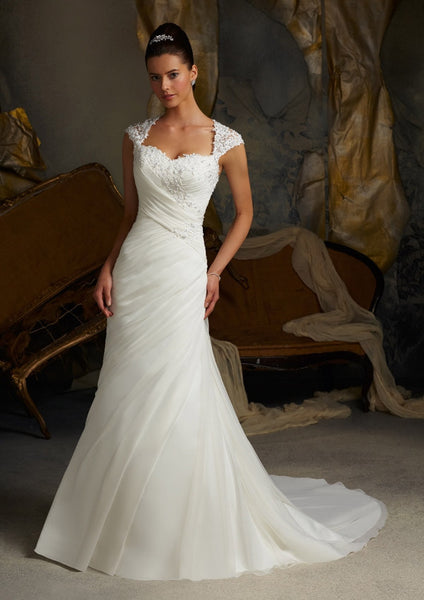 Mori Lee 5103 Chiffon with lace, cap sleeves, Ivory Size 16