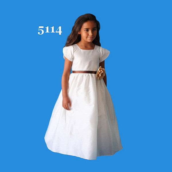 Rosebuds 5114 cap sleeve Flower Girl dress White/Claret Size 6