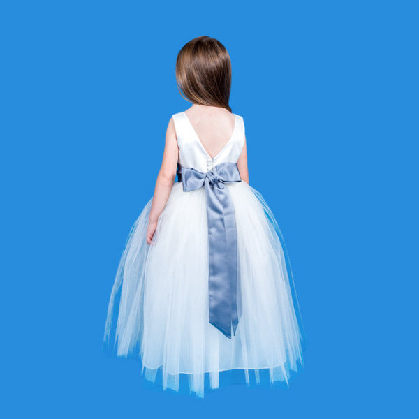 Rosebuds 5123 White with Turquoise sash size 6 Flower Girl dress