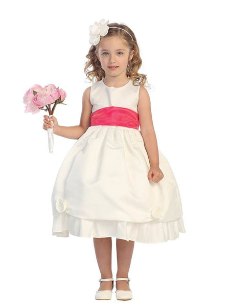 Tip Top Kids 5428 White with Red sash Flower Girl dress, Size 4