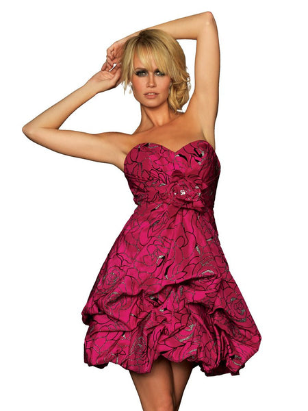 Night Moves 6012 Short bubble prom homecoming sorority dress, Fuschia Size 8, Sale $129