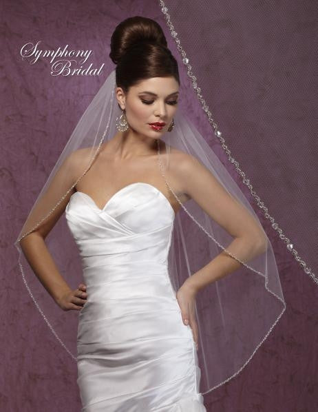 Symphony Bridal Veil 6016VL Ivory fingertip length veil with edging