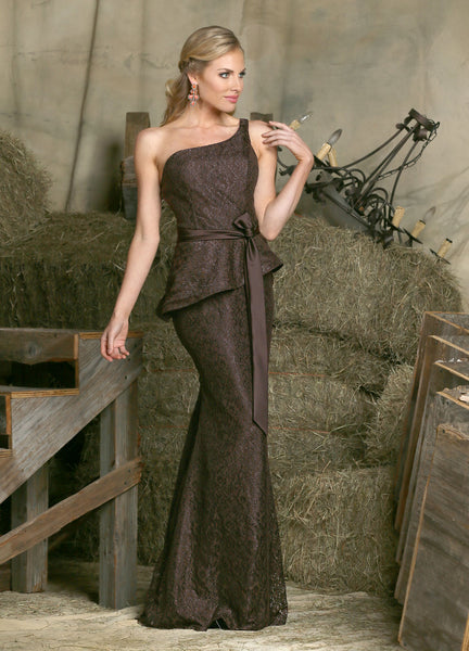 Davinci Bridesmaid Dress 60220, Lace one shoulder, 55 color options available