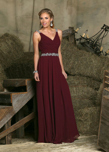 Davinci Bridesmaid dress 60225, chiffon rhinestone straps and belt, 52 colors available