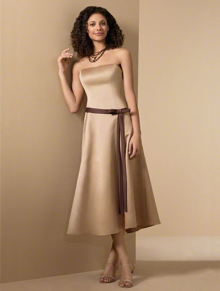 Alfred Angelo 6462 Harvest Gold/Espresso Size 8 or 10 tea length bridesmaid dress