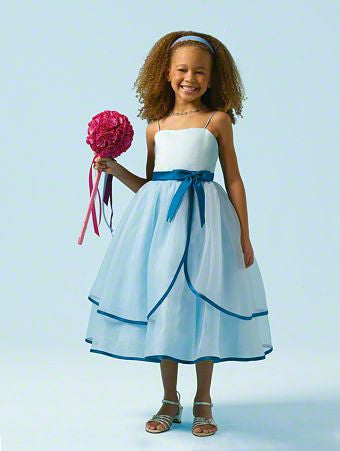 Alfred Angelo 6604 White with Claret trim Flower Girl dress, Size 7