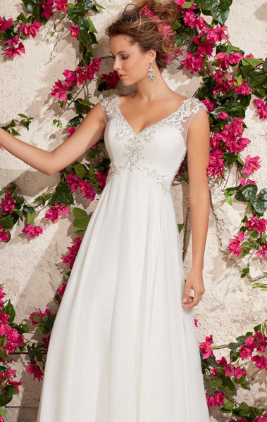 Mori Lee 6792 Ivory Size 4 Wedding gown, chiffon with illusion back