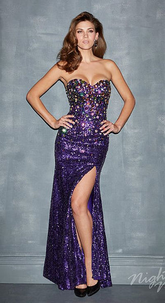 Night Moves 7002 Purple multi colored big jewels prom dress, cocktail dress Size 10