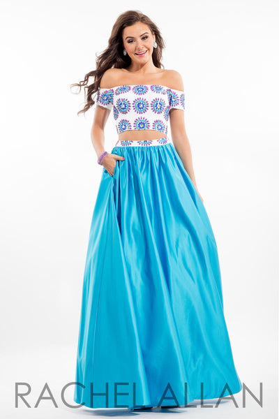 Rachel Allen 7081 Aqua Size 8, 2 piece prom dress