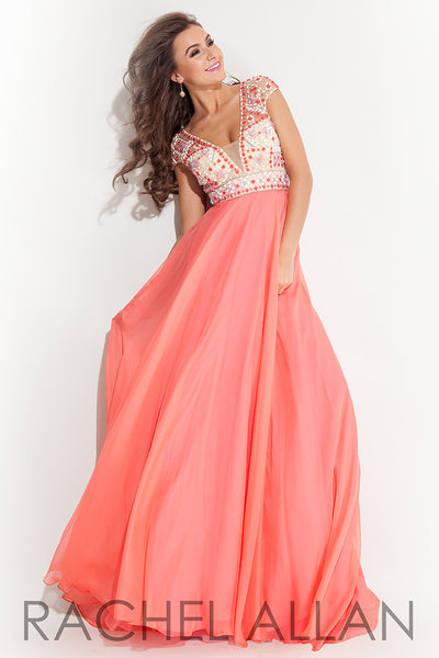 Rachel Allen 7139 Coral Size 12 chiffon cap sleeves beaded bodice prom dress, evening dress