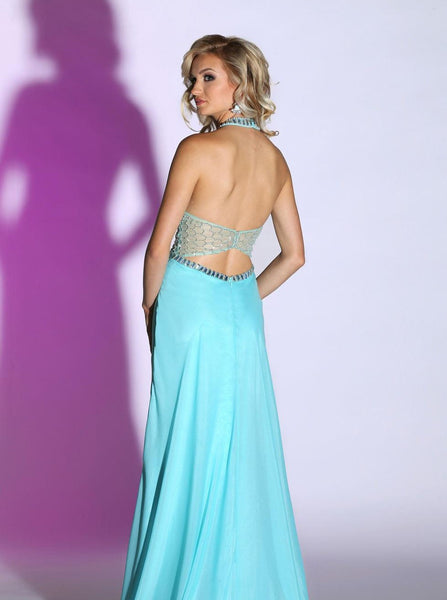 Sparkle 71420 Aqua prom dress Size 2, illusion top see through sides