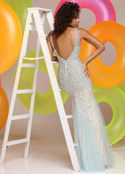 Sparkle 71599 Aqua size 6 heavily beaded prom dress Sale $366