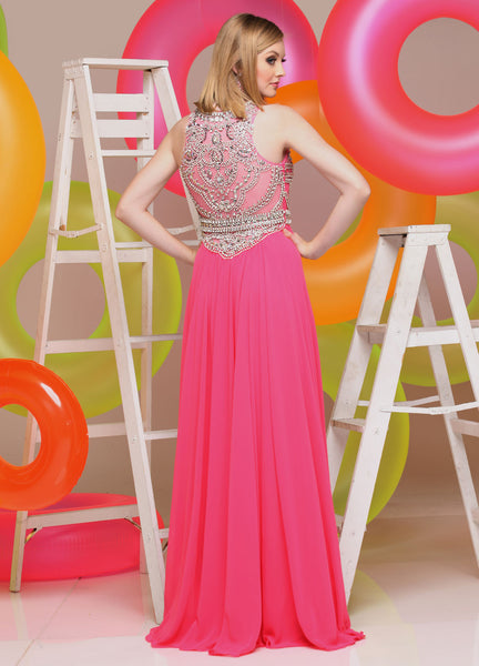 Sparkle 71607 Fuchsia Size 16 chiffon prom dress, Sale $291