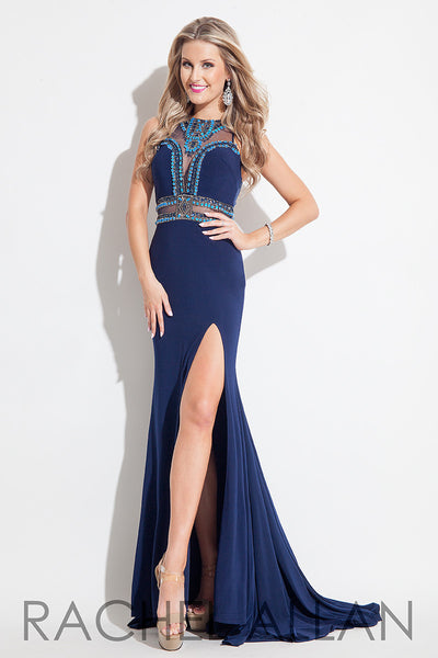 Rachel Allen 7218 Navy Size 12 illusion back, high slit prom dress, evening gown