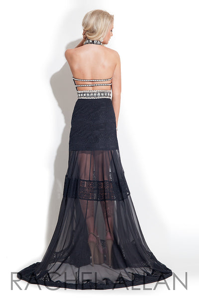 Rachel Allen 7235 Black Size 6 prom dress, evening dress, long with sheer panels