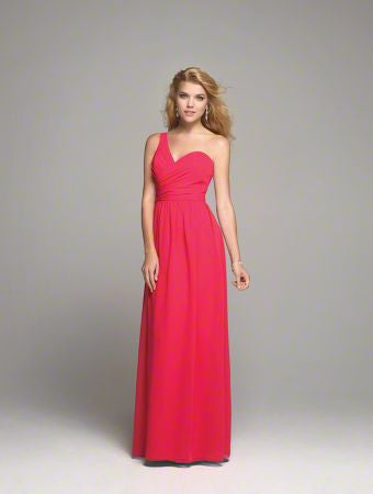 Alfred Angelo 7257L long bridesmaid dress, Chiffon one shoulder size 14