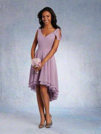 Alfred Angelo 7331S Short Lilace chiffon bridesmaid dress, Lilac Size 16