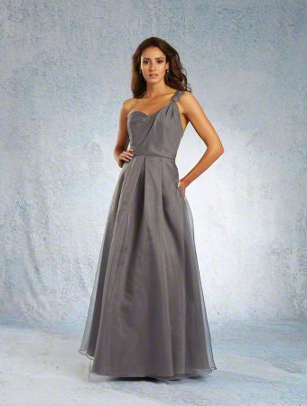 Alfred Angelo 7342L Charcoal size 14 one shoulder bridesmaid dress, evening dress