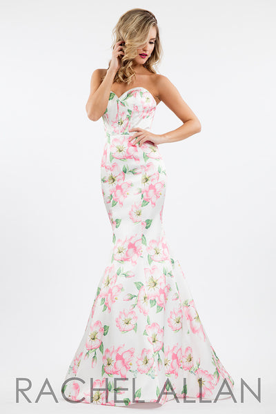 Rachel Allen 7609 White/Pink Floral prom dress, evening gown Size 18