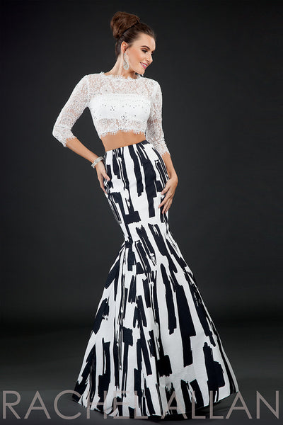 Rachel Allen 8072 White/Black patterned with sleeves 2 piece size 4 or 6 prom dress, evening dress